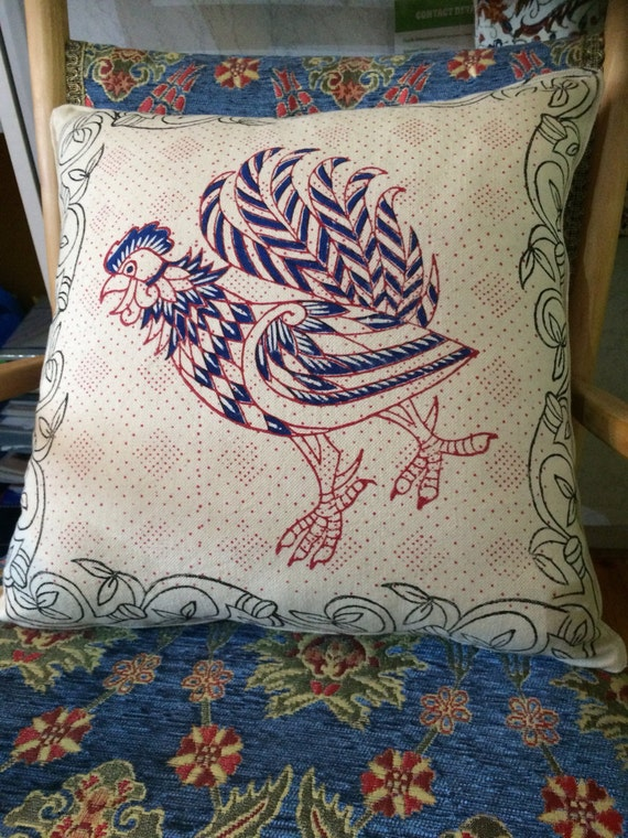 Hand Block printed pillow cover with rooster and dragonfly design, decorative cushions, Irish craft, Celtic design, wall decor
