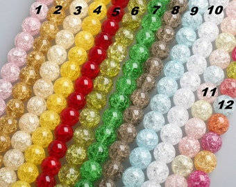 12 Colors Crystal Beads - 15'' Full Strand - Frizzling crystal white Beads