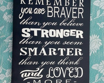 Always Remember You Are Braver Than You Believe Stronger Than You Seem Smarter Than You Think And Loved More Than You Know - Inspirational