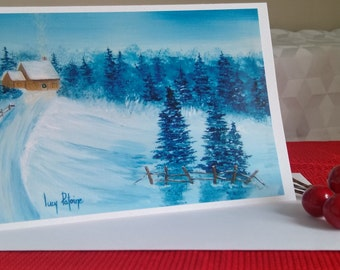 Christmas/landscape map winter/winter/Christmas/trees/forest/card to wish the holiday/Christmas/CC-LP-0057 greeting card