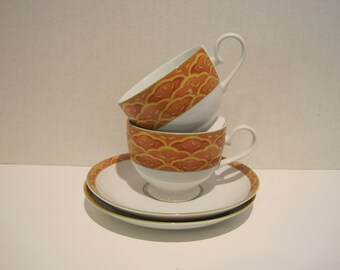 Mikasa Garden Toscana Terracotta  ~ Inspired by Tuscany Italy~ Set of 2~ Cups and Saucers