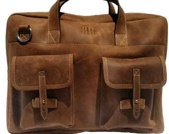 Handmade Genuine Full Grain Leather Laptop Messenger Bag Satchel Briefcase - The Bowery
