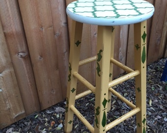 """29"""" (bar height) hand-painted stool in olive green, gold and off-white"""