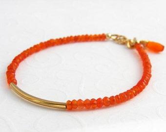 Carnelian bracelet gold plated orange gems, silver, tube
