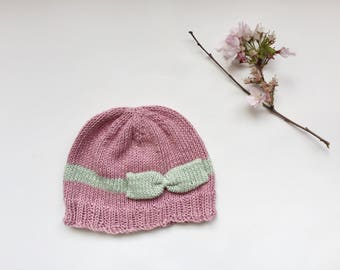 Knitted baby girl hat with bow, pink spring hat with bow, organic cotton toddler hat, baby photo prop, 6 months to 12 years