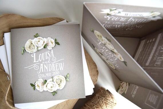 Rustic Rose Wedding Invitation Sample (Grey)
