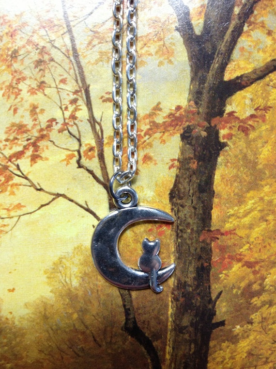 Cat on the Moon Necklace gifts under 20 cat jewelery cat necklace moon necklace moon pendant crescent moon necklace small necklace kitty