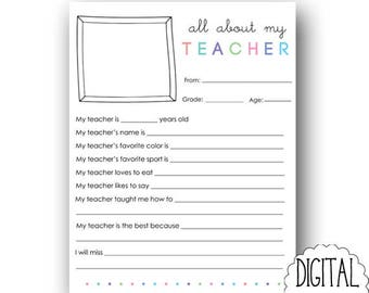 All About My Teacher PRINTABLE Instant Download / My Teacher Questionnaire Printable / Teacher Appreciation Printable / Teacher Printable