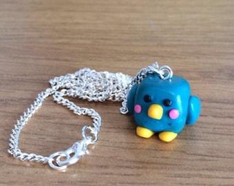 bluebird necklace // polymer clay bird necklace