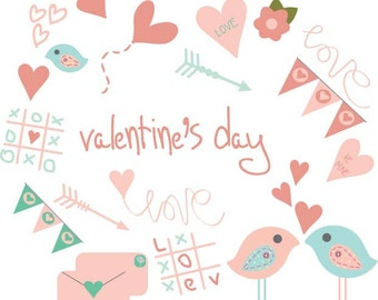 VALENTINE'S CLIPART PNG digital download  for Her  Card for Him valentine's day hearts birds arrows instant Clip Art