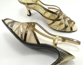 Vintage heels sandal shoes Python