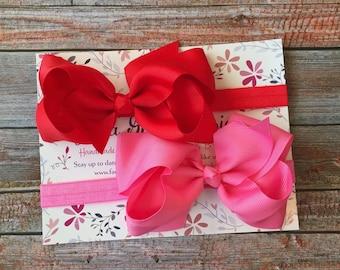 Set of 2 Big Bow Headbands/Baby Bow Headband/Newborn Hair Bows/Infant Headbands/Headbands for Babies/Bows/Headbands Sets/Headbands/Bows