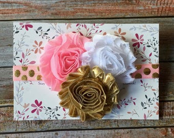Pink & Gold Headband, Pink and Gold Birthday Headband, 1st Birthday, Baby Headband, Baby Girl Headband, Infant Headband, Newborn Headband