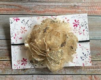 Black and Gold Headband/Gold Baby Headband/Baby Headband/Gold Headband/Baby Girl Headband/Infant Headband/Newborn Headband/Flower Headband