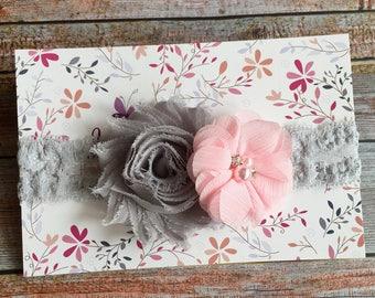 Pink and Gray Headband/Baby Headband/Pink Headband/Newborn Headband/Headband/Flower Headband/Pink and Gray/Gray Headband/Infant Headband/Bow