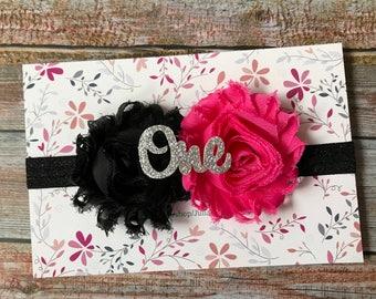 Hot Pink & Black Headband/Baby Headband/Hot Pink Headband/Hot Pink/Newborn Headband/Toddler Headband/Black Headband/Hot Pink and Black/Baby