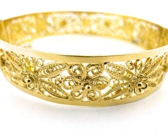 18K Yellow Gold Floral Filigree Bracelet 22.5g