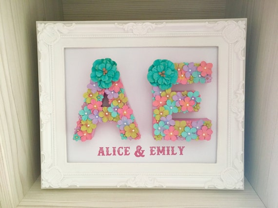 Wedding Gift For Twin Sister : Floral frame Floral letter Gift for twins Unique gift for