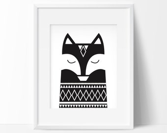 Black and White Graphic Fox Poster, Nordic Fox Printable,Woodland Fox Wall Decor,Kids room Decor,Scandinavian Interior,Nordic Woodland Print