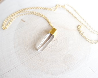 Gold dipped clear quartz long necklace