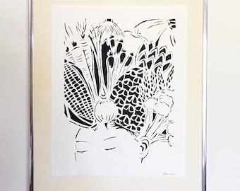Veggie Head Print