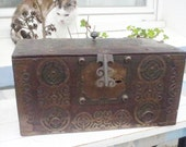 African art -Tuareg art;  Ancient  wooden and metal chest from  Sahara in Africa either Berbere or Tuareg