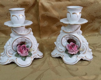 Antique Dresden Porcelain Candlestick Holders - Pair
