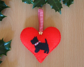 Felt Christmas tree decoration with Scottie dog applique and red gingham hanger, Christmas ornament, Scottish terrier, red felt heart