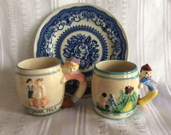Vintage Jack and Jill mugs children ceramic novelty nursery rhyme dishware drinkware