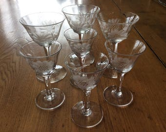 Vintage Hughes cornflower optic glassware charms and wine glasses stemware