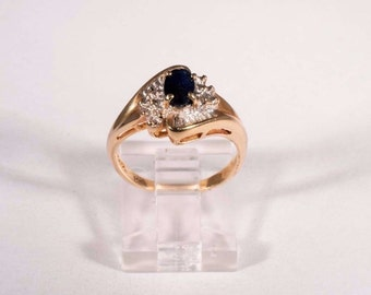 14K Yellow Gold Sapphire Illusion Mount Ring, size 6