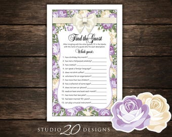 Instant Download Ivory Purple Roses Find the Guest Game, Victorian Garden Bridal Shower Games, Cream Lilac High Tea Party Game 33B