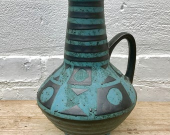 Vintage West German Blue Black Vase 1507-27