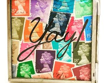 Yay - Fri yay - Inspirational Words - Colorful Wall Art - Inspiring Wall Art Quotes - Pop Art - Rainbow Art - Desk Decor - Stamp Art