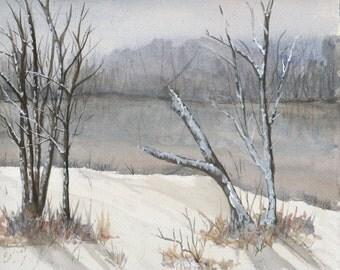 Winter River Watercolor Print -  Christmas Landscape Print