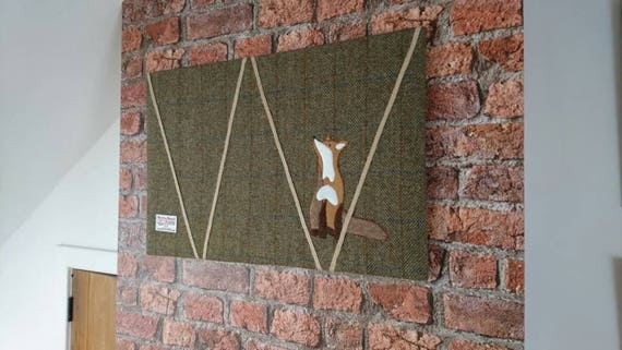 Hand Crafted Harris Tweed fox Design memo board