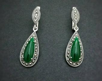 Earrings, Marcasite stones Earrings, Marcasite Jewelry, Sterling Silver 925, orecchini Marcasite, marcasite Ohrringe,