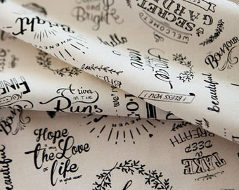 English Letter Word Text Patterned Fabric made in Korea by the Half Yard ,Cotton 100%