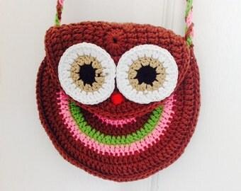Owl Cosmetic Bag, Gift for Little Girl, Owl purse, Crochet Wallet, Crochet Coin Bag, Owl Crochet Coin bag, Crochet Bag Small Beach Bag
