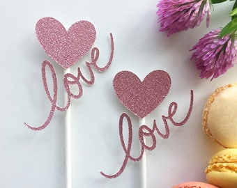 Set o 12 love toppers- wedding toppers- engagement toppers- bridal shower toppers- appetizer toppers - Love you toppers