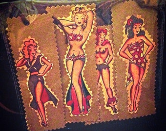 Sailor Jerry Style Rockabilly Pin Up Handmade Gift Tags