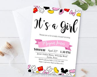 Personalized Itu0027s A Girl Baby Shower Invitation Cards   Baby Girl Disney  Theme Baby Shower Party
