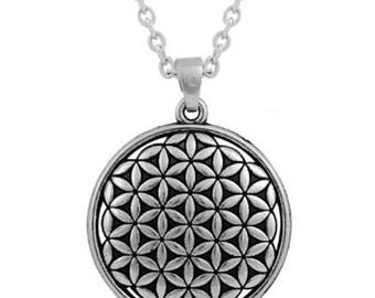 Flower Of Life Necklace Silver Sacred Geometry Pendant - Elegant Gift Box
