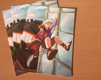 A5 Luna and Cynder print Comic book original characters digital artwork