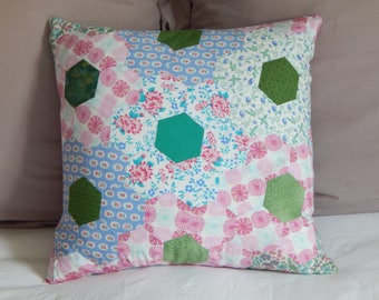 Cushion pillow - quilted hexagon patchwork, hand made in vintage fabric