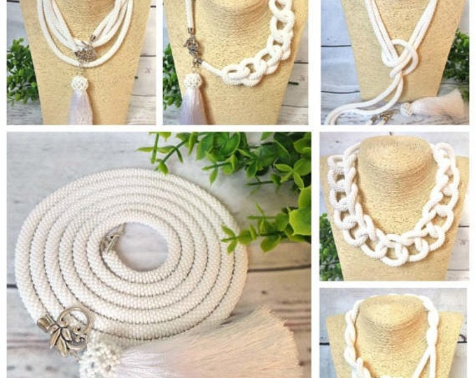White long lariat necklace transformer multifunctional statement casual office gift for her fashion crochet rope unusual office style tassel