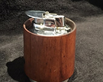 Retro Mid Century Table Lighter, Wood and Silver Evans