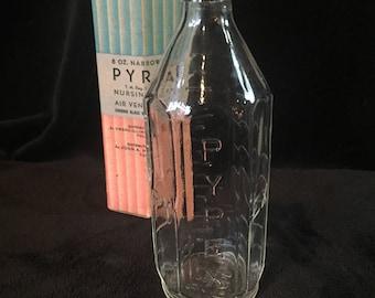 Pyrex narrow top baby bottle, Vintage Glass Nursing Bottle
