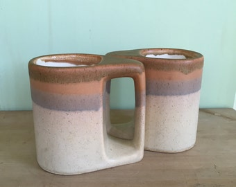 Vintage Padilla Stomeware Mugs Signed Mugs Drip Glaze Mugs Handcrafted Made in Mexico Collectable Pottery