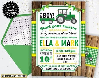 Tractor Baby Shower Invite, Tractor Invitation, Tractor Baby Shower Invitations, Yellow Woodland Green Plaid Boy Farm BST2 46